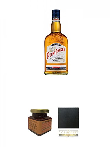 Pennypacker Straight Bourbon Whiskey 0,7 Liter + Kentucky Bourbon Himbeer-Marmelade 150 Gramm Glas + Schiefer Glasuntersetzer eckig ca. 9,5 cm Durchmesser