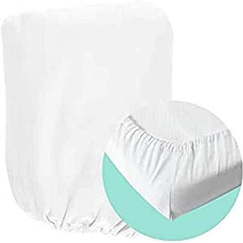 Mokee - Sábana Ajustable Para La Cuna, 120 Cm De Largo X 60 Cm De Ancho, Blanco, Color Blanco