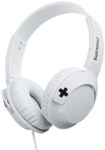 Philips Bass+ SHL3075WT - Auriculares con micrófono (Cable, Bajos potentes, Plegables, Ligeros y Elegantes) Blanco