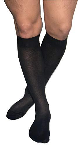 DREAM SOCKS 6 paia Calze da uomo lunghe in pregiato cotone 100% FILO SCOZIA,prodotto MADE IN ITALY (39/42, nero)