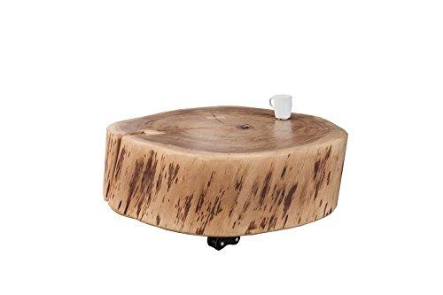 DuNord Design Couchtisch Baumscheibe rollbar Baumstamm Tisch Massivholz Möbel