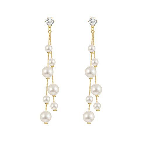 Pendientes Tassel Cadena Perlas Pendientes Largos Para Mujeres Niñas Banquete Novia Pendientes Lujo Pendientes Regalos