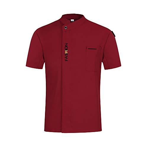 WMOFC Kochjacke,Chef Uniform, Kurzarm Kostüm Restaurant Hotel Cafe Küchen Koch Jacke Oberteile Kochhemd Restaurant Mantel,Rot,XL