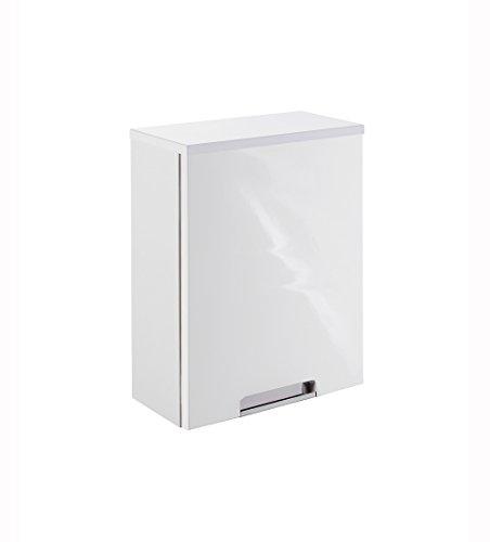 lifestyle4living Badezimmerschrank in Weiß, Hochglanz, schmal | Hängeschrank mit 1 Tür und 1 Einlegeboden