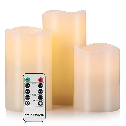 Aku Tonpa Flameless Candles Battery Operated Pillar Real Wax Electric LED Fake Candle Gift Sets with Remote Control Cycling 24 Hours Timer, 4' 5' 6' Pack of 3