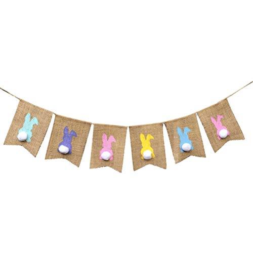 Amosfun Wielkanocne banery jutowe kolorowe królik chorągiewki baner girlanda na Wielkanoc urodziny baba prysznic dekoracje 2 m