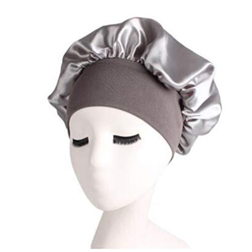 LJSLYJ femmes épaisses douche chapeaux de satin de bain bonnets de douche couverture de cheveux double bonnet de bain imperméable, argent