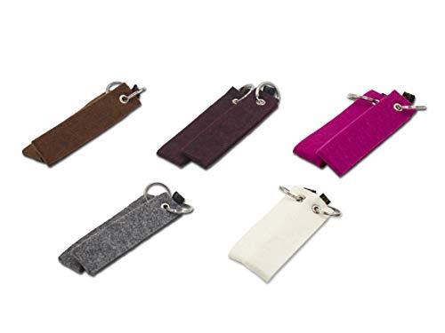 Filz Schlüsselanhänger 10er Set, Rohlinge ohne Aufdruck zum Basteln und Selber Machen (Gemischt), Schlüsselband zum selbstgestalten