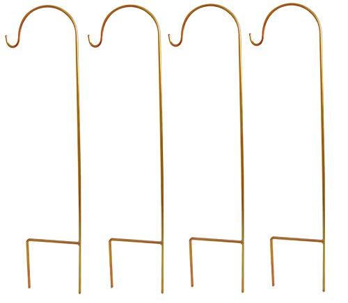 Garten Schäferhacken 4-er Set Shepherd 's Haken 90cm aus Metall in Gold/Karminrot Gartenstab, Laternenstab - Ideal für Außenbereich zum Aufhängen von Pflanzkörben, Solarleuchten und Blumentöpfen