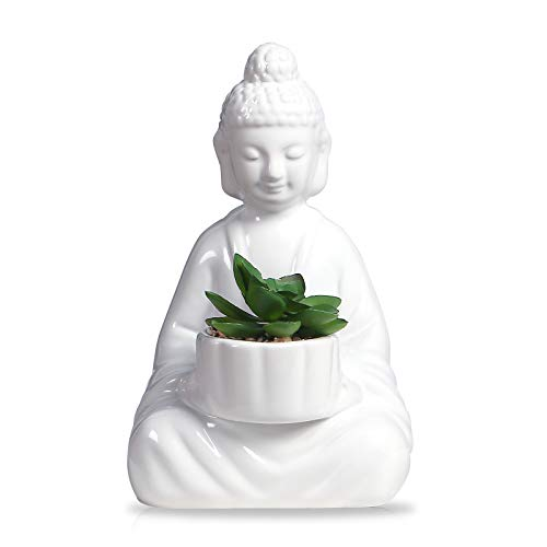 Buddha Planter Pot, White Ceramic, Herbs and Succulent Planter, White Buddha Planter, for Indoor Gardening, with Drainage Hole (Artificial Planted)