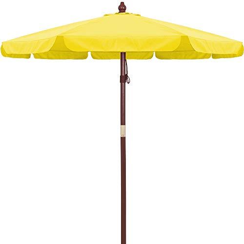 Deuba Sonnenschirm Holz UV-Schutz 40+ Ø 330cm Gelb stabile Verstrebungen wasserabweisend - Gartenschirm Terrassenschirm Marktschirm Holz-Sonnenschirm