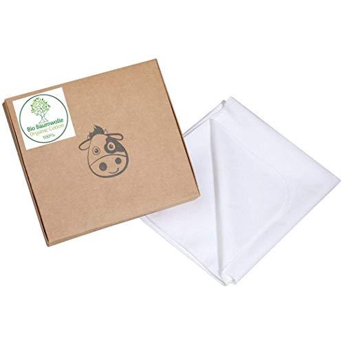 Wasserdichter Matratzenschoner aus Bio-Baumwolle für Babys und Kleinkinder - Oeko-TEX 100 Zertifiziert, atmungsaktive Matratzenauflage – Matratzenschonbezug für Kinder (140 x 70, Weiß)