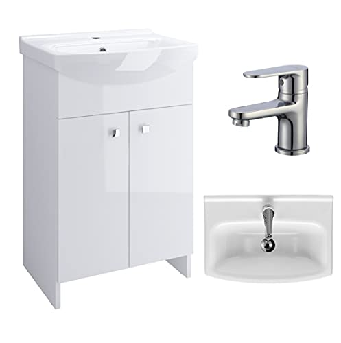 VBChome Badmöbel Weiß 60 cm Armatur Waschbecken mit Unterschrank Waschtisch Waschbeckenunterschrank Unterschrank Zugstange Badezimmerschrank 2 Türen Glanz Waschplatz Stand Standmöbel