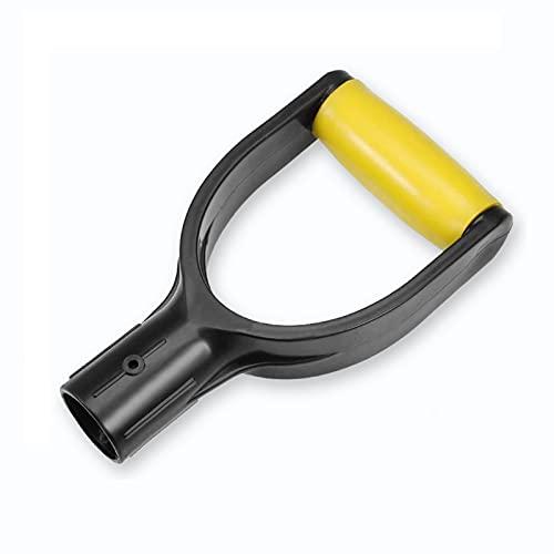 Plastic Spade Handle Shovel D Grip Handle, 32mm Inner Diameter Spade Snow Shovel Handle, Spade Snow Scoop Digging Raking Tools Hand Protect Garden Accessorie for Snow Shovel Digging Raking (Yellow)