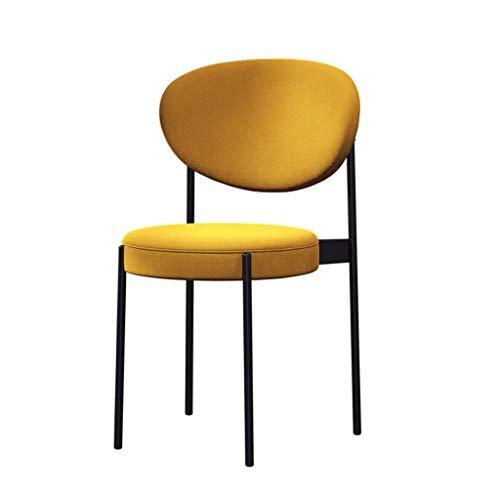 fevilady Esszimmerstühle 2ST Thick Baumwolle und Leinen Dining Chair Nordic Light Luxury Black Metal Beine Küchenstühle for Heim Wohnzimmer Essensstuhl (Color : A Pair of Yellow)