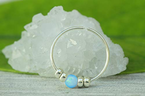 Opal piercing hoop-Ultra Thin 24G Sterling Silver Nose ring piercing ring - light blue tiny nose hoop opal - 7mm nose hoop