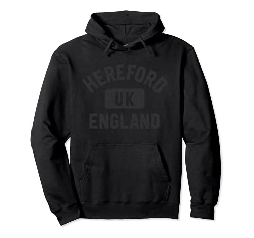 Hereford England Gym Style Black with Distressed Black Print Sudadera con Capucha