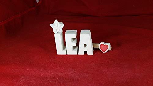 Beton, Steinguss Buchstaben 3D Deko Namen LEA mit Stern und Herzklammer als Geschenk verpackt! Ein ausgefallenes Geschenk zur Geburt, Taufe, Geburtstag, Namenstag oder auch zu anderen Anlässen.