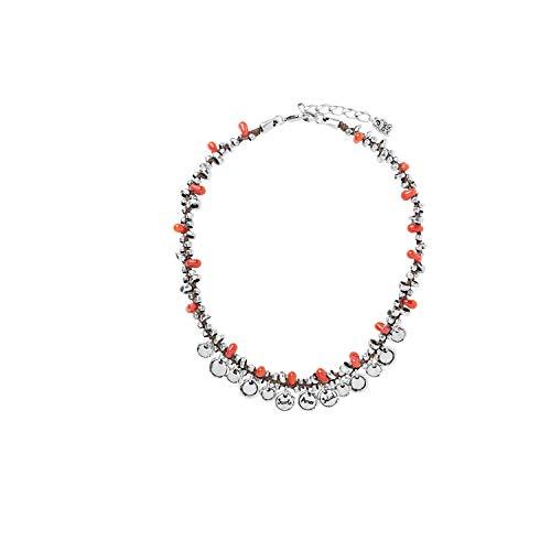 Collar corto Uno de 50 A FUEGO tipo gargantilla con pequeñas cuentas de cristal en color rojo