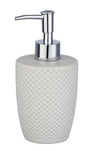 WENKO Seifenspender Punto Weiß - Flüssigseifen-Spender, Spülmittel-Spender Fassungsvermögen: 0.38 l, Keramik, 8.5 x 17.5 x 8.5 cm, Weiß