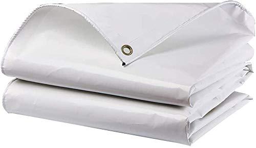 FFJD Tarpaulin Heavy Duty Waterproof PVC Coated Cloth Tarpaulin Sun Protection Anti-oxidation Mildew Proof Tear Resistance Not Moldy White 4m × 4cm