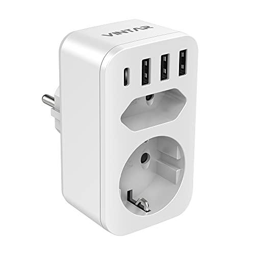 VINTAR Enchufe USB 6 en 1, Ladron Enchufes (4000W) con 3 Cargadores USB (2.4A) + 1 Puerto Tipo C (3A)+1 Toma de CA + 1 Enchufes EU, Regleta Enchufes Multiple Adaptador Enchufe con USB España