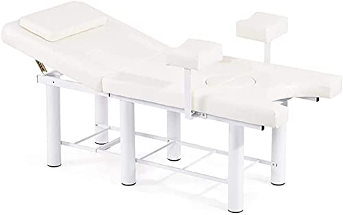 PGKCCNT Respaldo Ajustable de la Cama de Examen ginecológico, Cama de Masaje, Mesa de Operaciones ginecológica, Mesa de SPA de salón Ajustable de Altura, Rosa (Color : White)