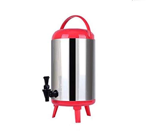 JTDSQDC Isolierte Eimer Catering-Kessel und Wasserspender Edelstahl Teekanne Gewerbl Durchlauferhitzer Doppelschicht-Isolierung 8L / 10L / 12L (Color : Red, Size : 12L)