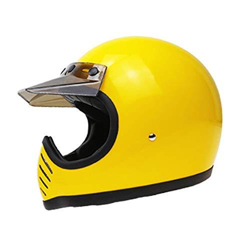 HUAA Motocross-Helm - 3/4Vollhelm - FRP Retro Style Motorrad-Kollisionshelm Manuelle FRP-Schale ECE/DOT-Zertifizierung
