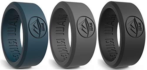 MAUI RINGS Silicone Wedding Ring for Men Solid Style Silicone Wedding Band for Men Mens Ring Men Wedding Band Safe Ring for Athletes Sport Gym
