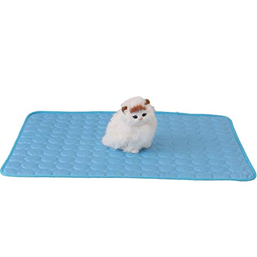 Delifur Cat Cooling Mat Pet Self Cooling Pad Washable Summer Ice Silk Sofa Mat Cats Dogs Bed Pad (S, Blue)