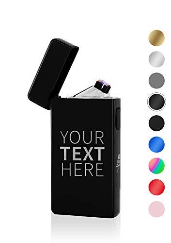 TESLA Lighter T13 Lichtbogen Feuerzeug, mit Wunsch-Gravur, personalisiert als Geschenk zu Weihnachten, Geburtstag etc. Elektronisches Feuerzeug, wiederaufladbar per USB Schwarz