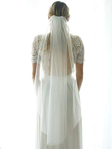 Unsutuo 1 Tier Bride Wedding Veil Ivory Fingertip Bridal Tulle Veil with Comb and Cut Edge (Ivory)