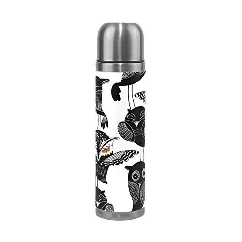 Ahomy Bouteille Isotherme à Double paroi en Acier Inoxydable Motif hiboux Noir et Blanc 0,5 l