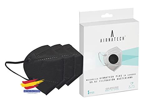 Airnatech Antiviral Mascarilla Higiénica Plus Negra - Protección Bidireccional - 5 Unidades - Fabricada en España - Homologada y Certificada por AENOR y AITEX - Reutilizable hasta 20 lavados