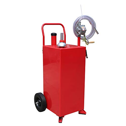 TUFFIOM 30 Gallon Portable Gas Caddy with Wheels, Fuel Transfer Gasoline Tank Reversible Rotary Hand Siphon Pump, Fuel Storage Tank for Automobiles ATV Car Mowers Tractors(Red)