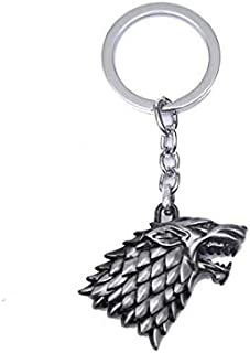 Fashion Game of Thrones House Stark Wolf Head Retro Keychain High Quality Metal Keyrings Casual Key Chain Holder(Silver)