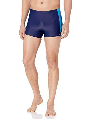 Speedo Men's Fitness Splice Square Leg, Navy/Blue, Large