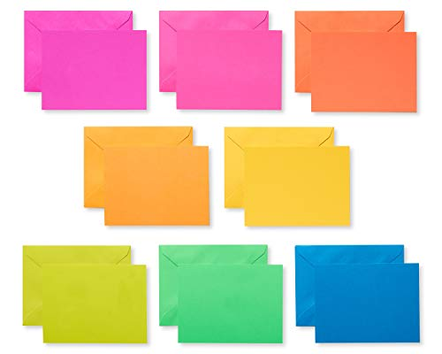 American Greetings Single Panel Blank Cards with Envelopes, Neon Rainbow (100-Count) - 5672262