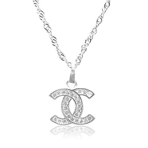 Vision Creations Silber/Gold Kette Halskette Anhänger (164-385-CC-12) Geschenk für Damen Mädchen Kettenlänge 44CM (Silber)