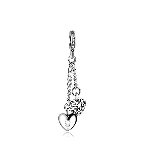 925 Plata Pandora Aleación Cadena Larga Pareja Cerradura Cuentas De Corazón Original Para Mujeres Día De San Valentín Diy Joyería De Lujo Para Mujeres