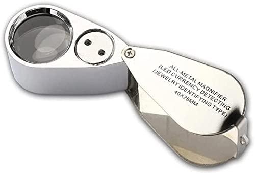 ASDF Lupa multifuncional 40X portátil de metal lupa LED iluminada lupa de bolsillo plegable para baja visión, lectura, monedas