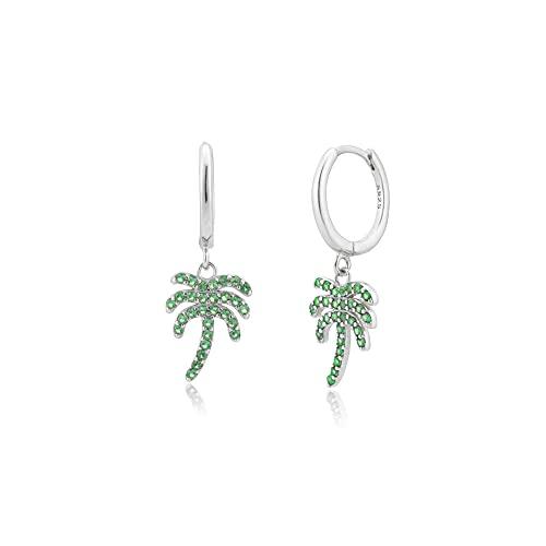 Plata de ley 925 8 5 mm circón verde árbol de coco colgante Piercing pendiente de gota fina joyería Clips joyería Clips-plata