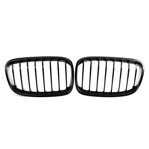 ZHJNB Tela de riñón para Parachoques, 1 par del Frente de Coche para BMW F20 F21 LCI 5D 1-Series 3D 120i 2015-2017 Racing Grille Negro Brillante 1 Llantas,4gloss Black 1 Slat