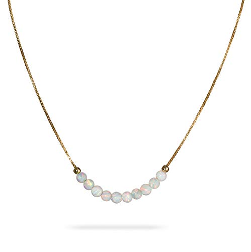 White Opal Beaded Necklace Tiny 3mm Opal Bead Minimalist Jewelry 14k gold filled box chain 16 inch+ extension Gift Women Girl Necklace