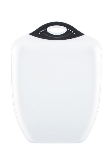 Dexas Chop & Scoop Cutting Board, 11 by 14 inches, White with Black Handle