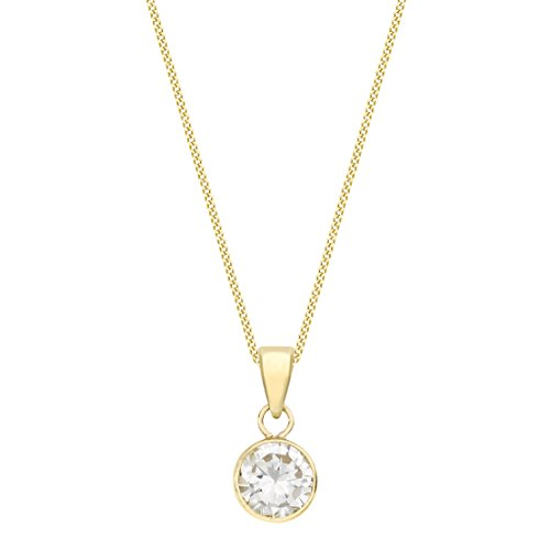 Carissima Gold Women's 9 ct Gold 7 mm Round Cubic Zirconia Pendant on 9 ct Gold 0.7 mm Diamond Cut Curb Chain Necklace