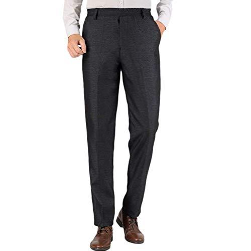 Medio E Vecchio di età Herren Elasticizzato Stretech Waist Hose Straight Let Pantaloni Caldi Casual Vater Hosen (Color : Black 1, Size : Waist:36'-38')