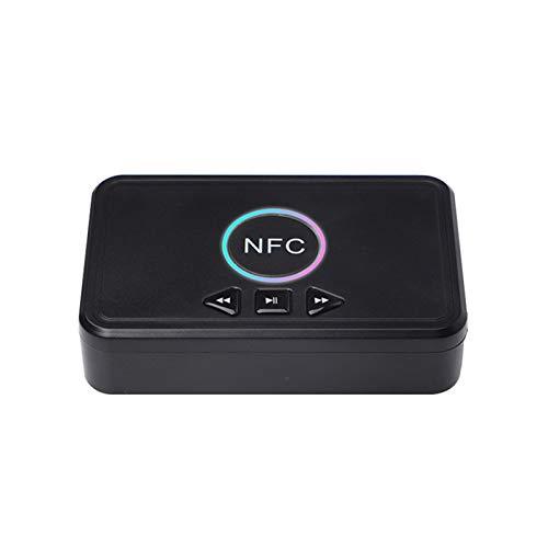 Receptor de audio estéreo Bluetooth inalámbrico 3.5MM a RCA NFC BT5.0 adaptador para TV/Computadora/TV/Proyector/Altavoz/Auriculares Negro