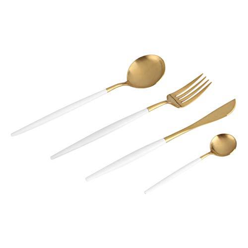 Juego de vajilla - 4Pcs/Set Vajilla de color de acero inoxidable Cuchara Tenedor Vajilla Uso en el hogar Regalo de Navidad(Negro + Dorado)